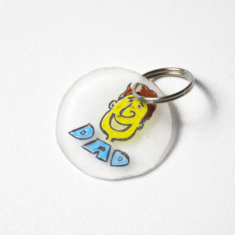 Make a key ring using shrink art