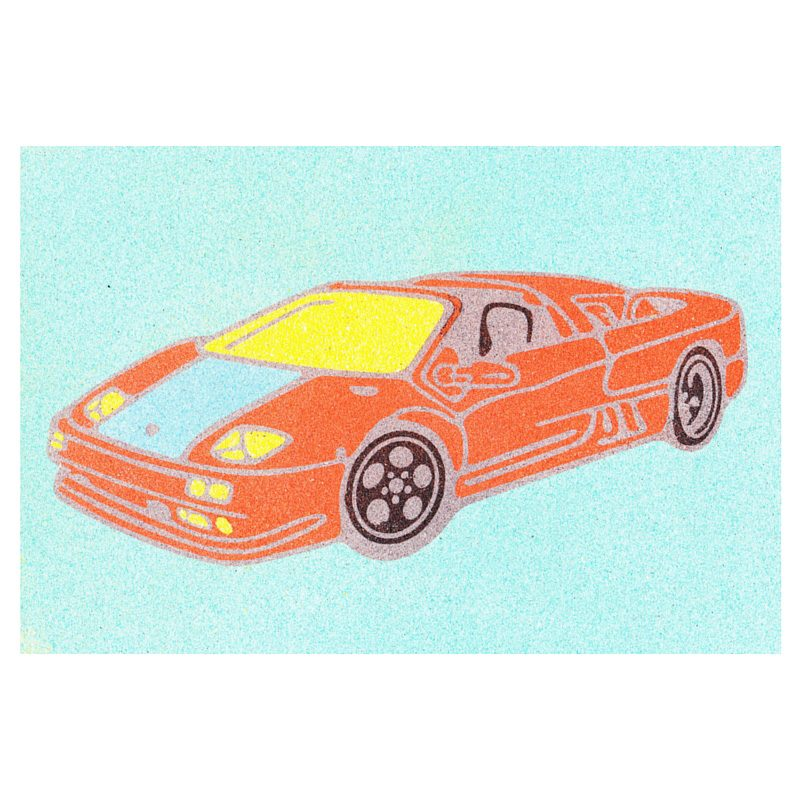49 Sports Car Sand Art Card