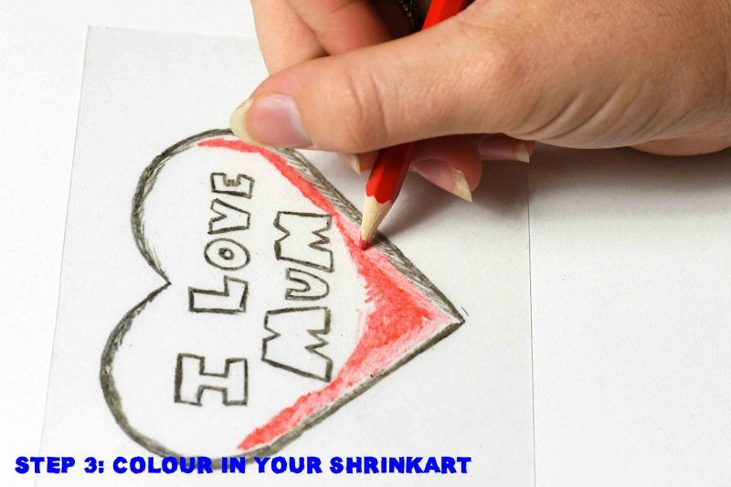 Colour in your Mothers Day Shrink Art