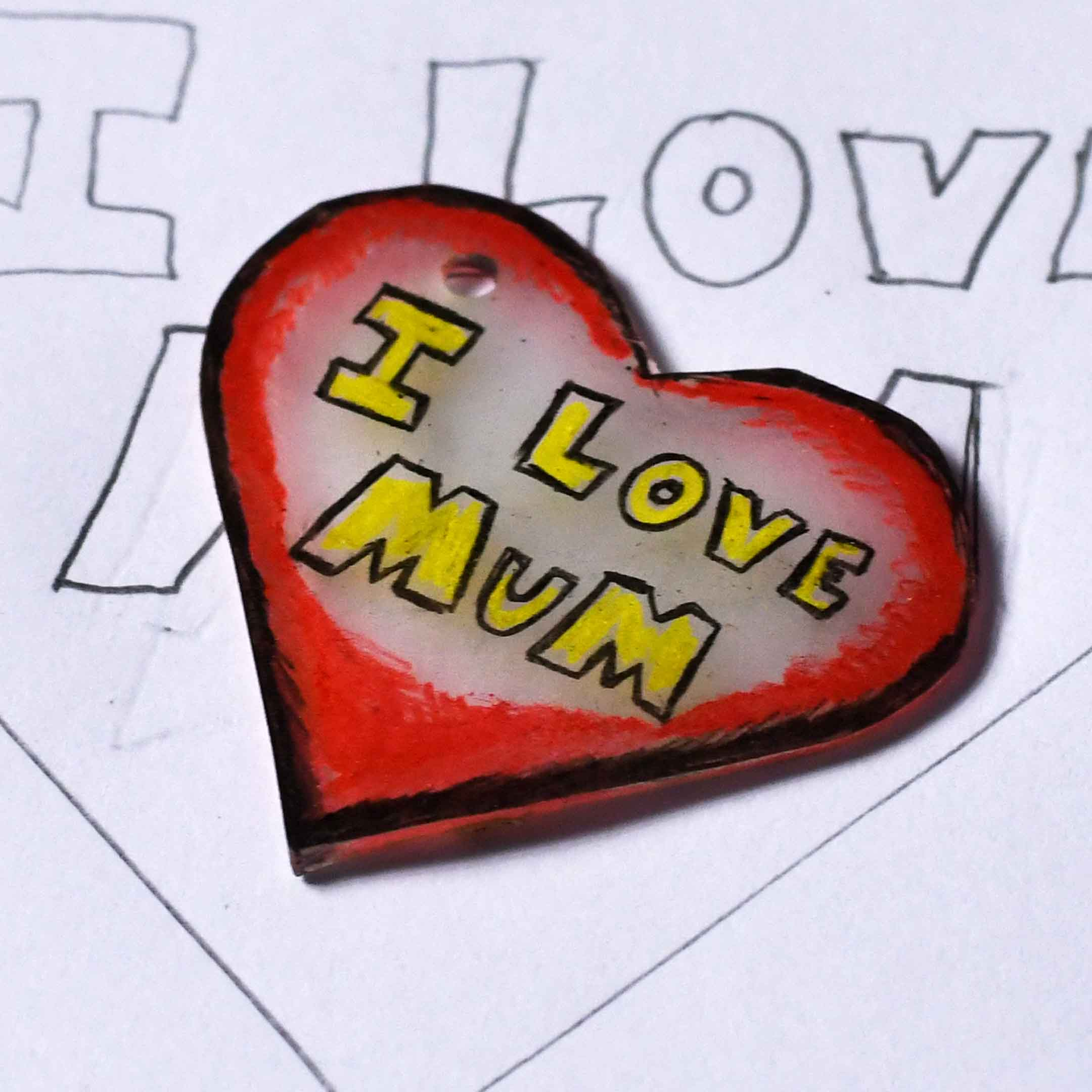 Easy Mothers Day Craft - Shrink Art Love Heart.