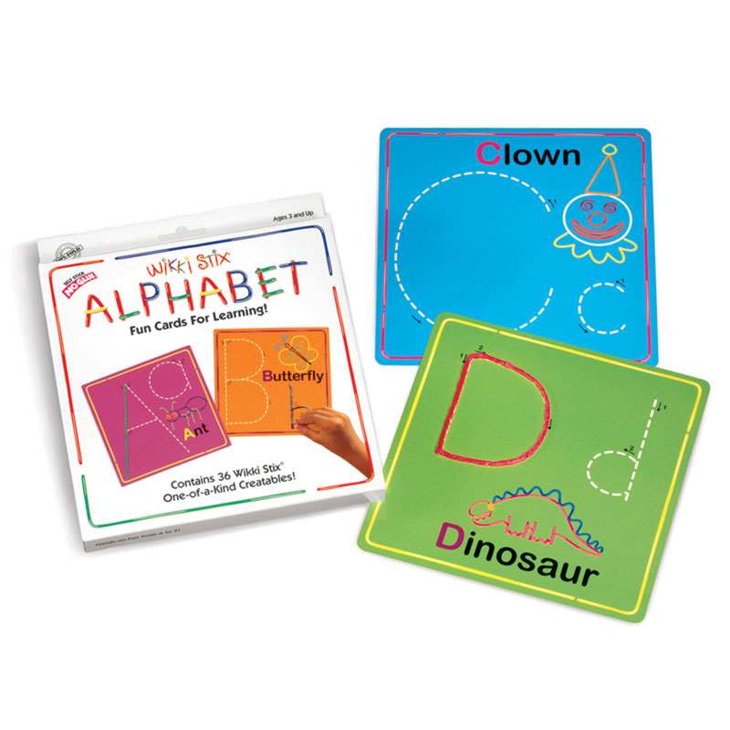Colorful individual cards for learning letter formation with Wikki Stix. Creative Wikki illustrations on each card add to the fun! 26 Alphabet cards plus one practice card 36 reusable Wikki Stix Perfect for developing fine motor skills Ideal school readiness at home Perfect for classroom or centers Mistake-proof! Cards have directional arrows for proper letter formation. Durable cards can be used again and again… fun laying them out to spell words!