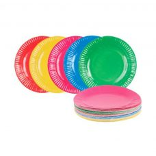 paper plates assorted COLOURS 23CM glossy craft plates