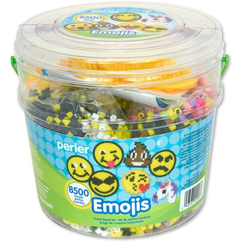 Perler emoji activity bucket.