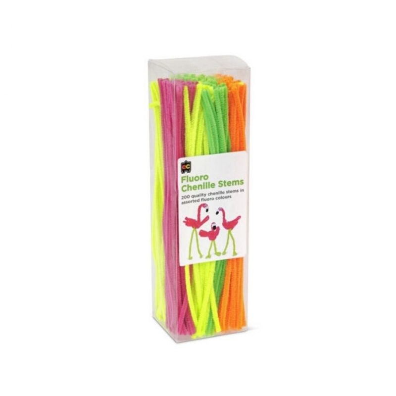 Educational Colours fluoro chenille stems pack of 200
