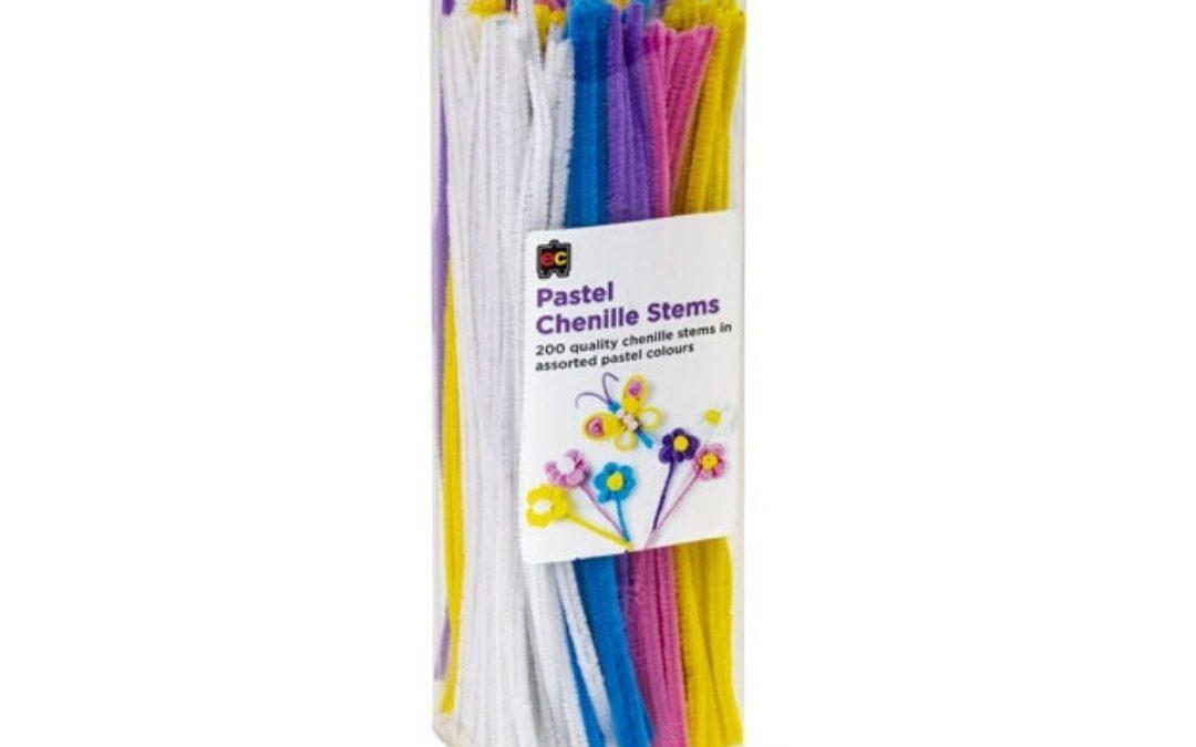 Chenille stems pastel 30cm Packet 200