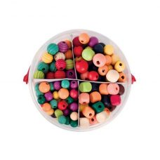 Basics Wooden Beads 575g assorted colours and sizes